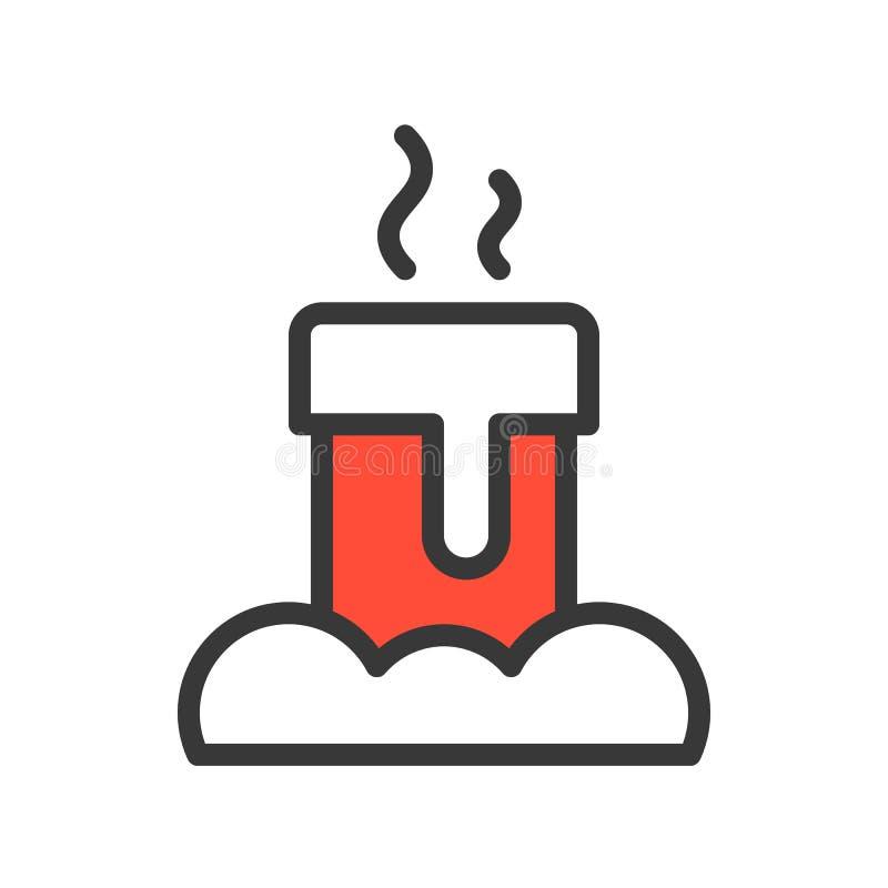 Kominowa płomienica, Wesoło boże narodzenia odnosić sie ikona set, wypełniający konturu d ilustracja wektor