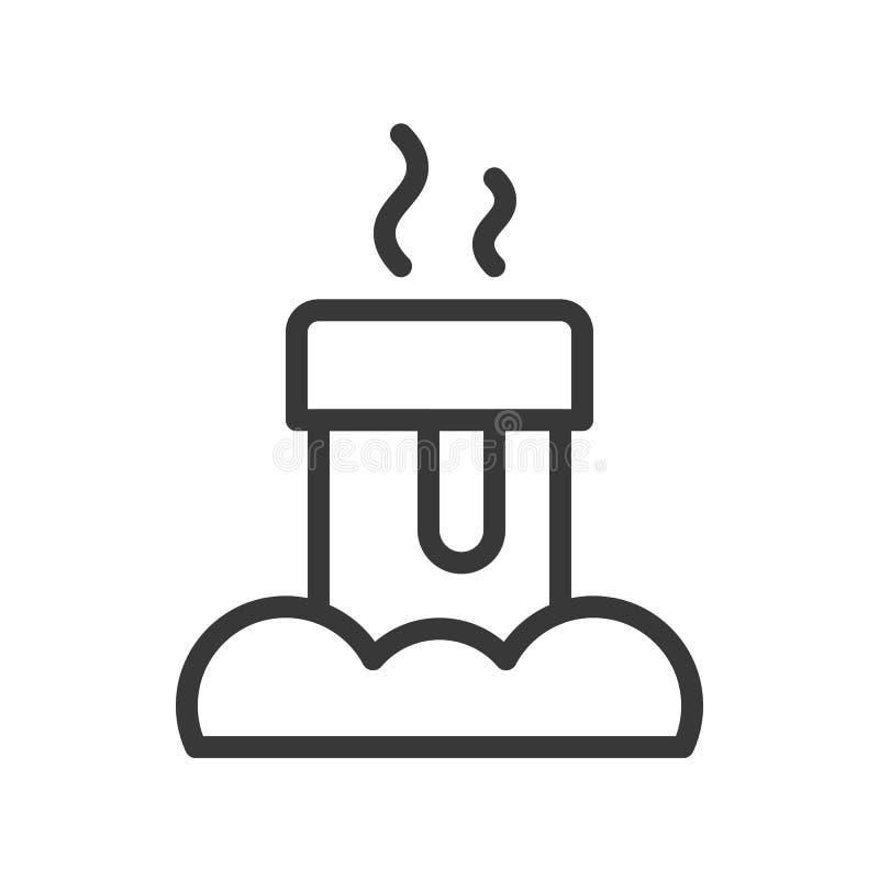 Kominowa płomienica, Wesoło bożych narodzeń ikony set, konturu projekt editable royalty ilustracja
