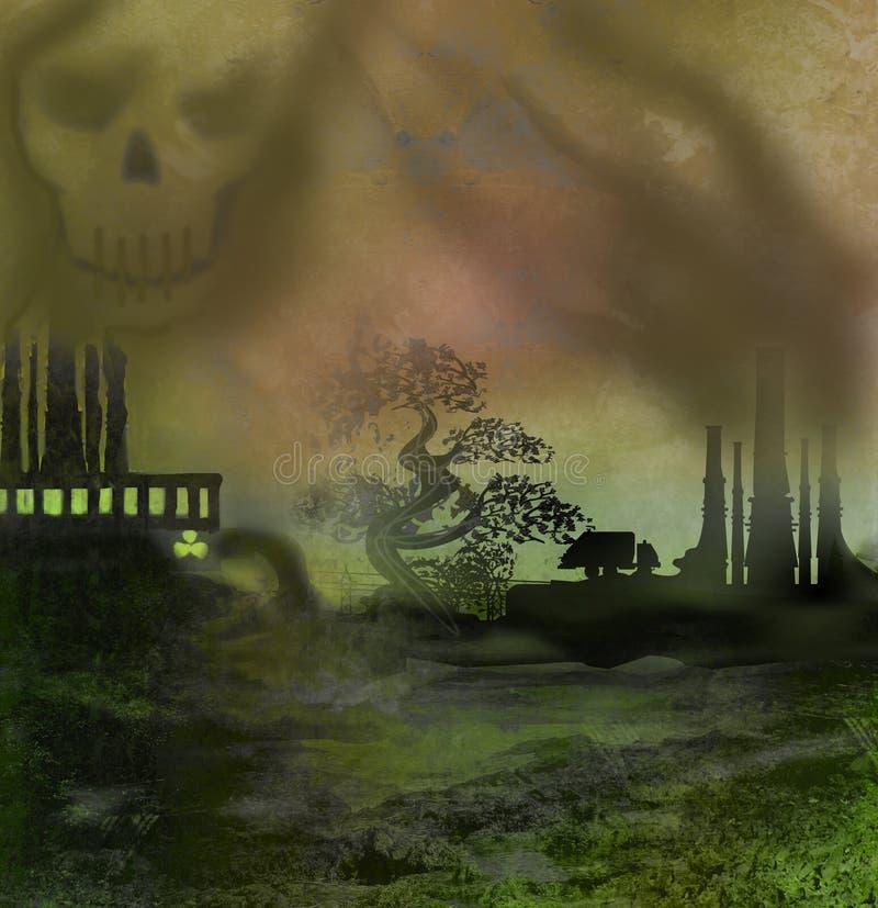 kominowy nadchodzący fabryki nadchodzący dym gęsty ilustracja wektor