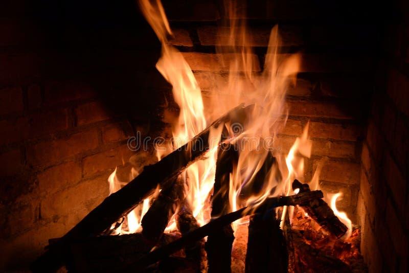 Kominu ogień zdjęcie royalty free