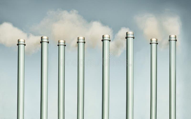 Kominy i smokestack zanieczyszczenia pojęcie fotografia royalty free