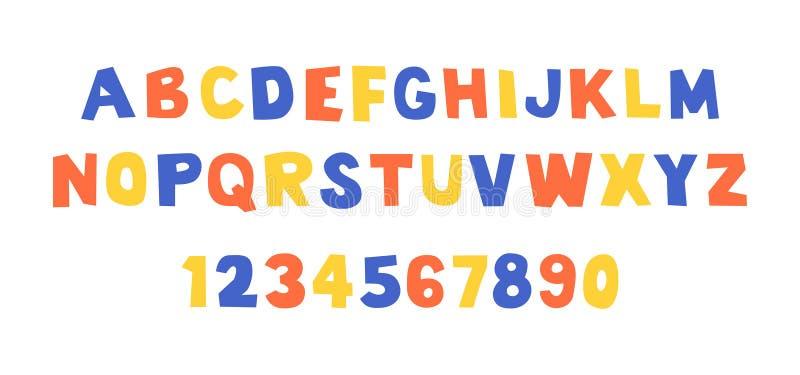 Komisch doopvont en alfabet stock illustratie