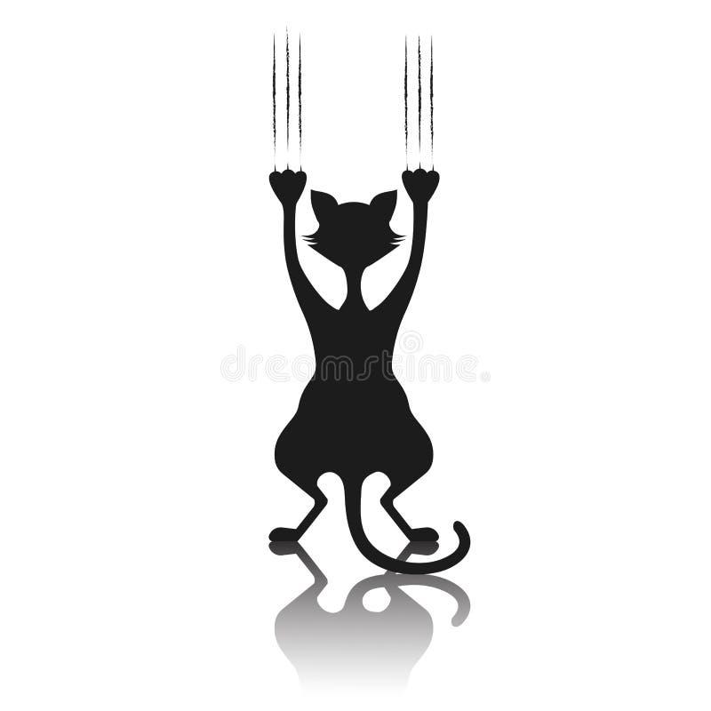 Komisch silhouet van een kat de krassende achtergrond royalty-vrije illustratie