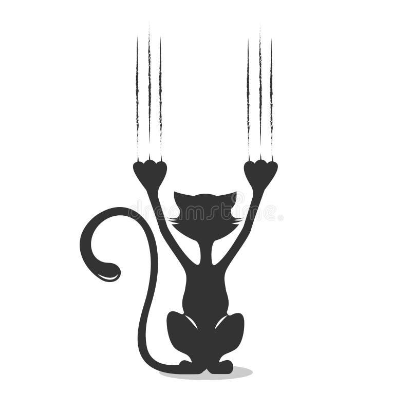 Komisch silhouet van een kat de krassende achtergrond, een vectorillustratie royalty-vrije illustratie