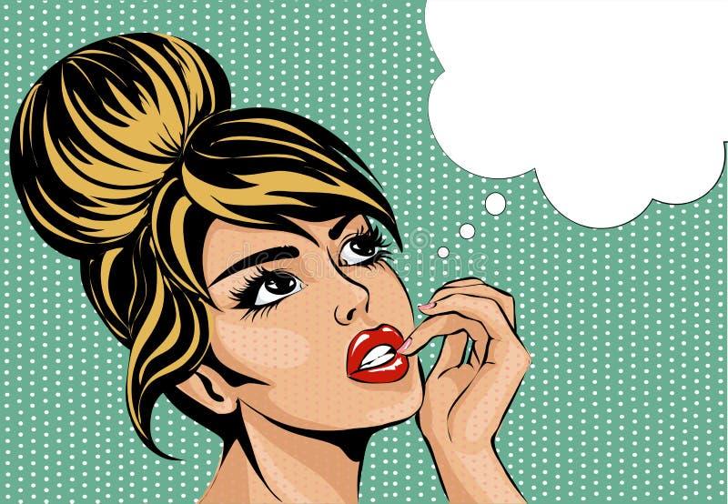 Komische Artfrau der Pop-Arten-Weinlese mit wachsamen Augen träumend, weibliches Porträt mit Spracheblase lizenzfreie abbildung
