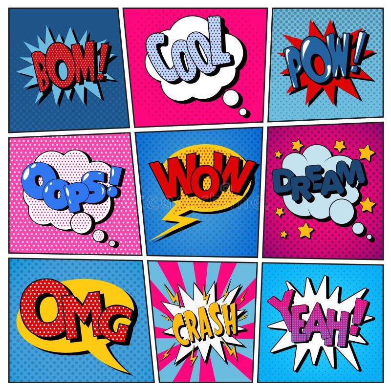 Komische Blasen eingestellt Ausdrücke Bom, kühl, Kriegsgefangen, Oops, wow, Traum lizenzfreie abbildung