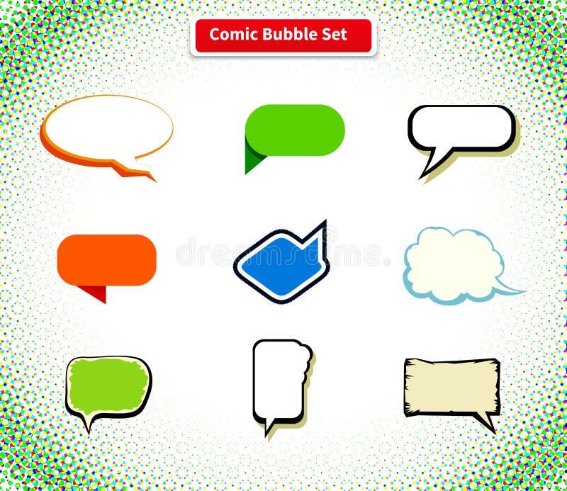 Komische Blasen-gesetzte Ikonen-flaches Art-Design lizenzfreie abbildung