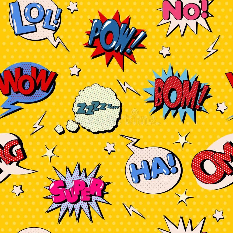 Komische Blasen-nahtloses Muster Pop-Arten-Hintergrund lizenzfreie abbildung
