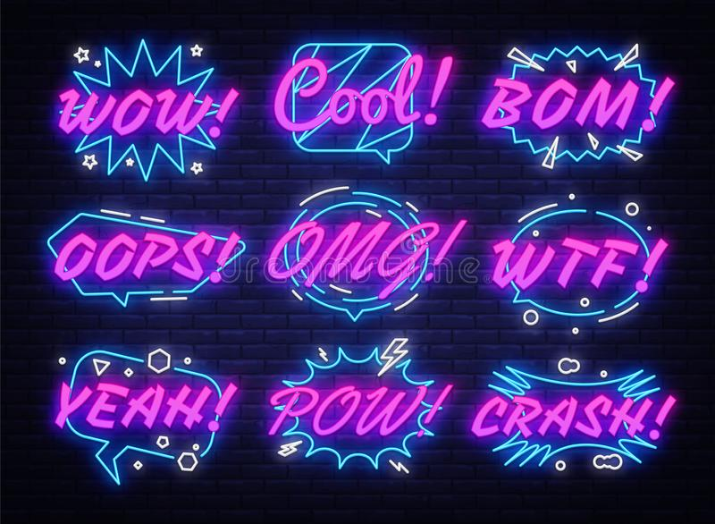 Komische Blasen stellten in Neonart ein Ausdr?cke k?hlen, Oops, wow, Omg, Abbruch, ja und anderer ab Sammlungsleuchtreklamen Pop- lizenzfreie abbildung