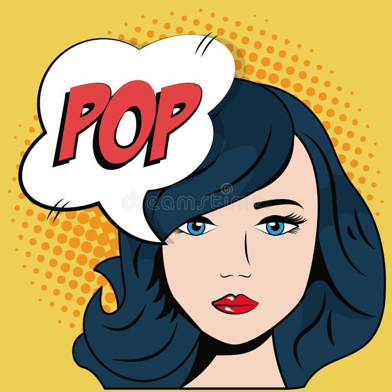 Komische blaue Haarmädchenblasensprachepop-art vektor abbildung