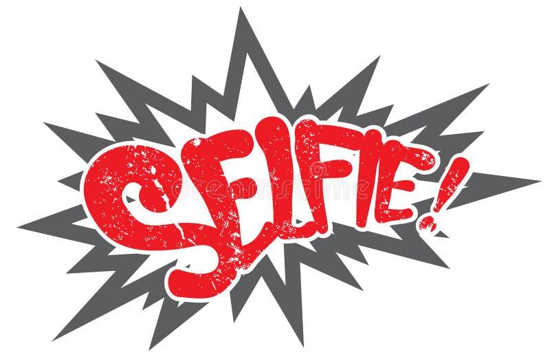 Komische Boom selfie Weinleseart stock abbildung
