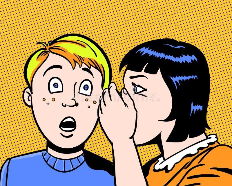 Komische erläuterte Kinder, die ein großes Geheimnis mit orange Hintergrund teilen lizenzfreie abbildung
