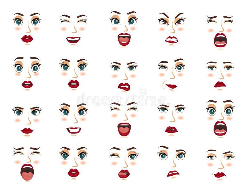 Komische Gefühle Frauengesichtsausdrücke, Gesten, Gefühlglücküberraschungsekeltraurigkeits-Begeisterungsenttäuschung vektor abbildung