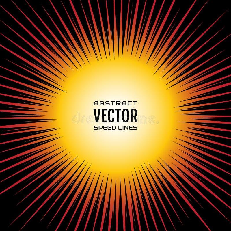 Komische Geschwindigkeit zeichnet Radialhintergrund, wie eine Sonne Festliche Illustration der roten gelben Steigung mit Effekten lizenzfreie abbildung