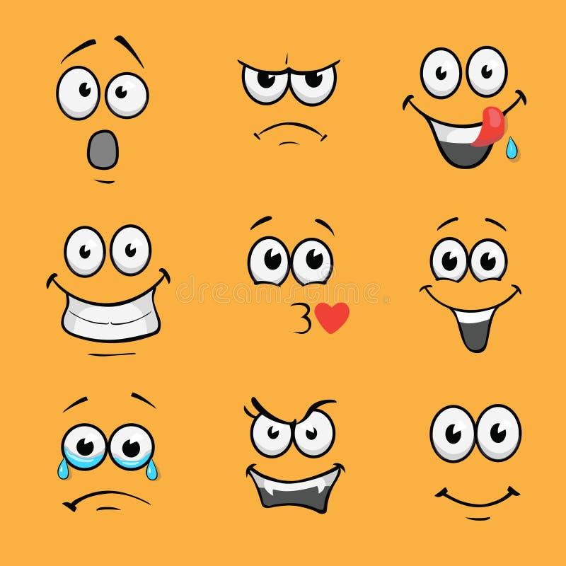 Komische Gesichter der Karikatur Verschiedener Ausdruckvektorsatz stock abbildung