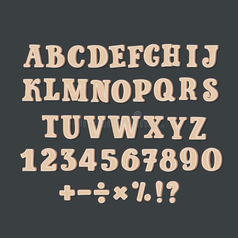 Komische hölzerne Alphabet-Illustration eines Satzes hölzerner komischer ABC-Buchstaben und Gusscharaktere, die auch Interpunktio lizenzfreie abbildung