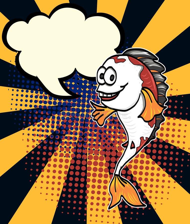 Komische Halbton- und Pop-Arten-Art Pop-Arten-Wurm-Mannvektor Komischer Kunstkarikatur Karpfen-Fischvektor Cheffischhalbton lizenzfreie abbildung