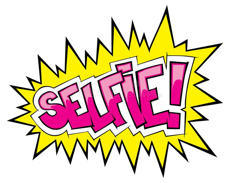 Komische Knall selfie Weinleseart stock abbildung