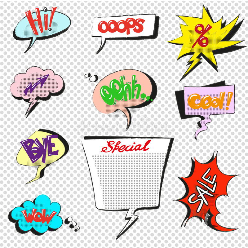 Komische Pop-Arten-Spracheblasenvektorsammlung lizenzfreie abbildung