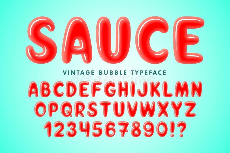 Komische Schriftart der glatten Blase, buntes Alphabet lizenzfreie abbildung