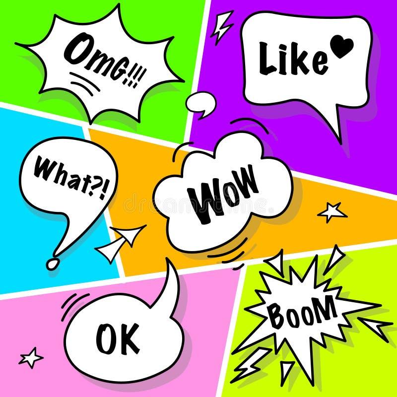 Komische Sprache-Blasen in der Pop-Arten-Art lizenzfreie abbildung
