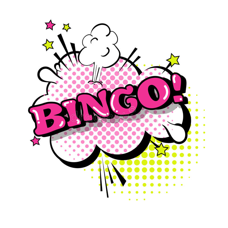 Komische Sprache-Chat-Blasen-Knall-Art Style Bingo Expression Text-Ikone stock abbildung