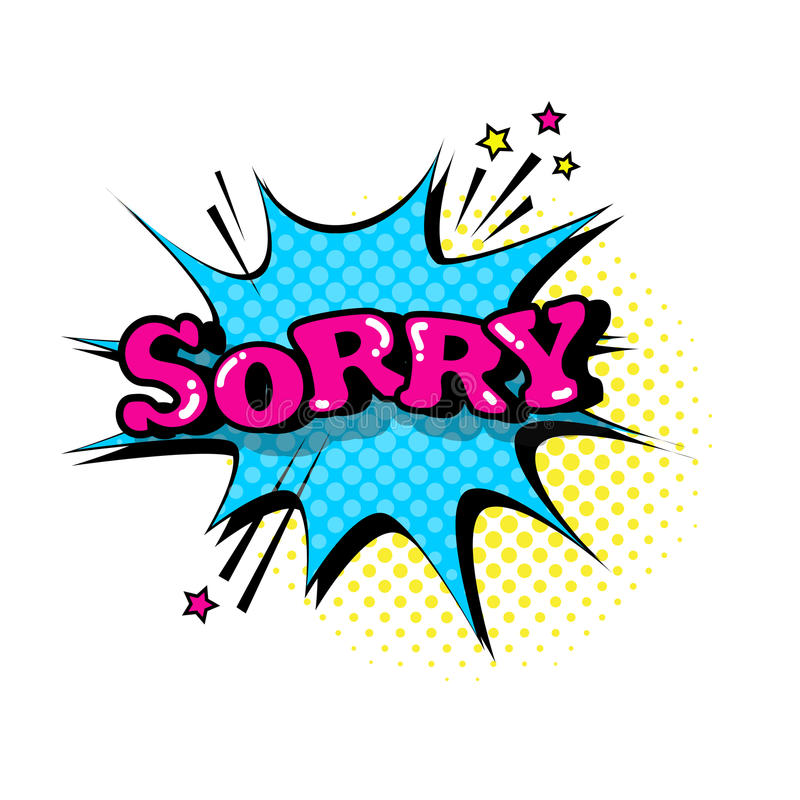 Komische Sprache-Chat-Blasen-Knall-Art Style Sorry Expression Text-Ikone lizenzfreie abbildung