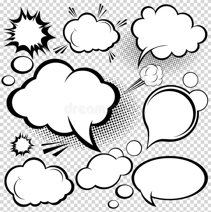 Komische Sprache-Luftblasen lizenzfreie abbildung