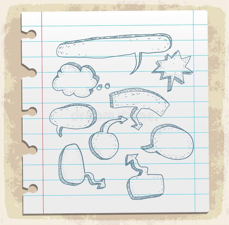 Komische Spracheblase auf Papieranmerkung, Vektorillustration lizenzfreie abbildung