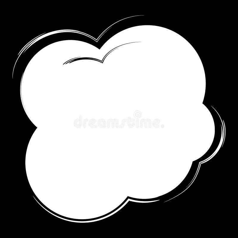 Komische Spracheblase der Karikatur Vektorillustration und grafische Elemente, Schablone, lokalisiert, Vektor auf schwarzem Hinte stock abbildung