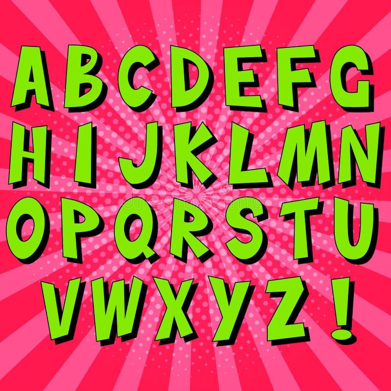 Komische Spracheblasen des Pop-Arten-Alphabetes Pop-Arten-Vektor-Aufkleberillustration lizenzfreie abbildung