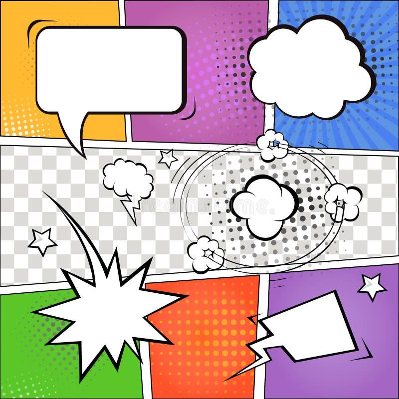 Komische Spracheblasen und -Bildgeschichte auf buntem lizenzfreie abbildung