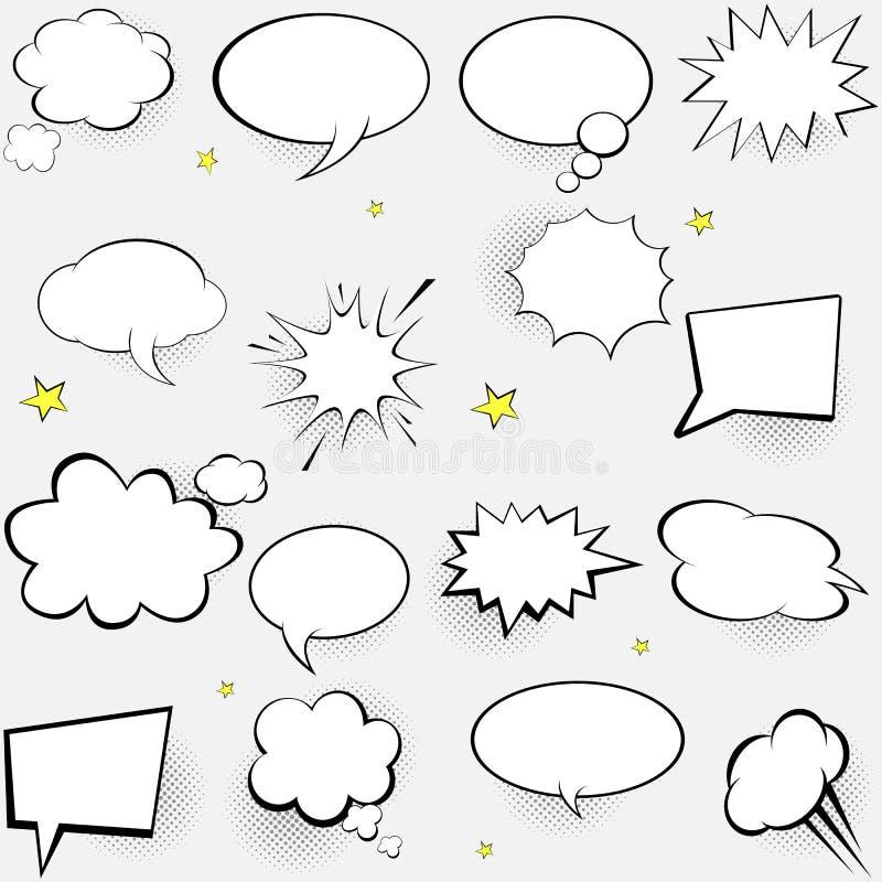 Komische Spracheluftblasen stellten ein Pop-Arten-Vektor-Aufkleberillustration Weinlesecomics buchen Plakat auf wei?em Hintergrun lizenzfreie abbildung