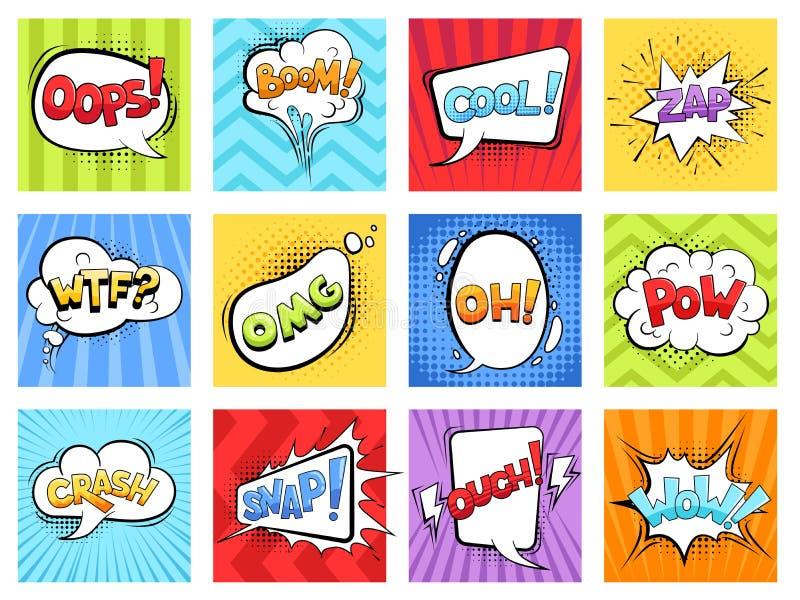 Komische Töne Karikatur, abgestreifte Explosionsrahmen zu explodieren und Spracheblasen mit Wörtern dröhnen Retro- Schablone des  vektor abbildung