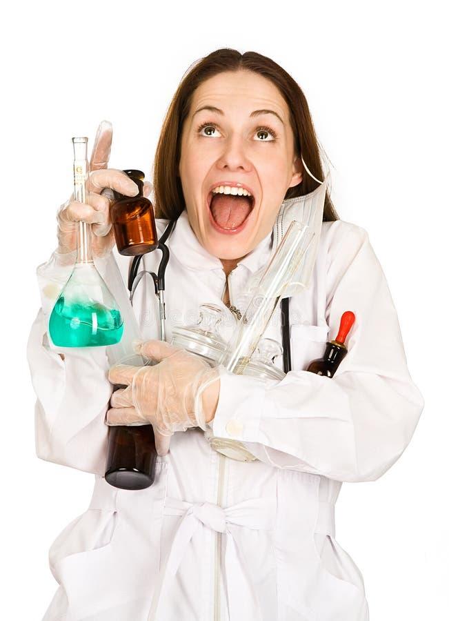 Komische vrouw-laboratorian royalty-vrije stock afbeeldingen