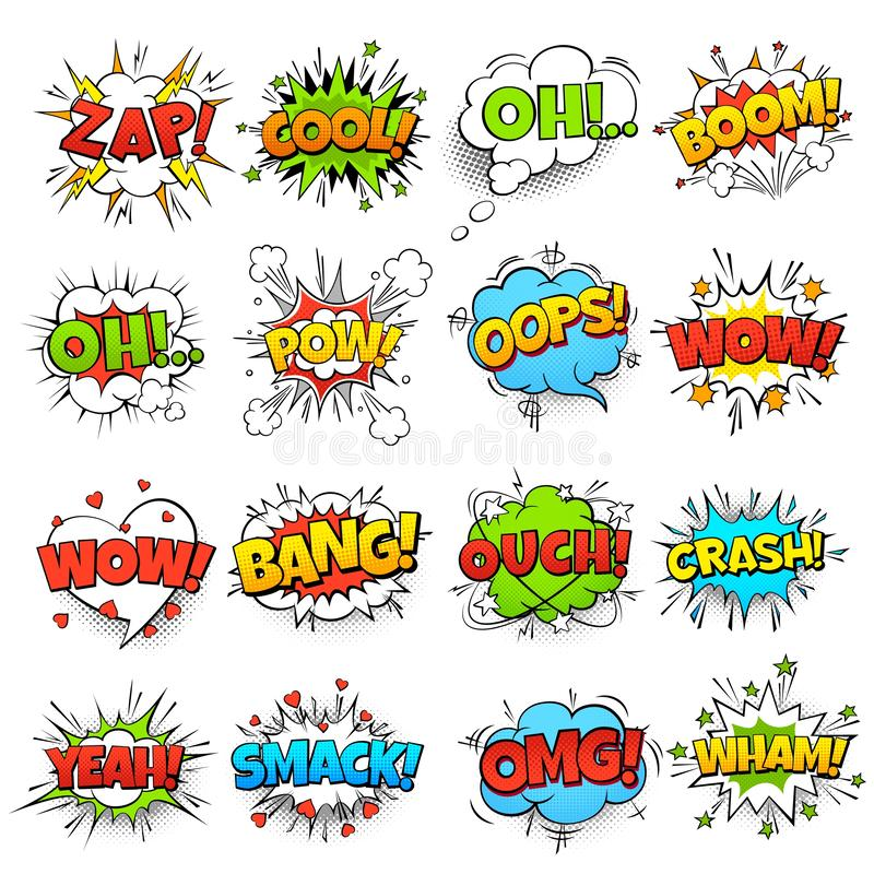 Komische Wörter Element- und Kinderskizzenaufklebervektor-Ikonensatz der Karikaturboomabbruchsspracheblase lustiger lizenzfreie abbildung
