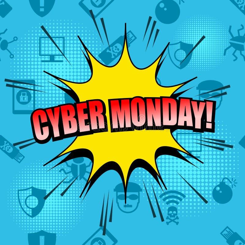 Komischer Cyber Montag, der nahtloses Muster annonciert stock abbildung