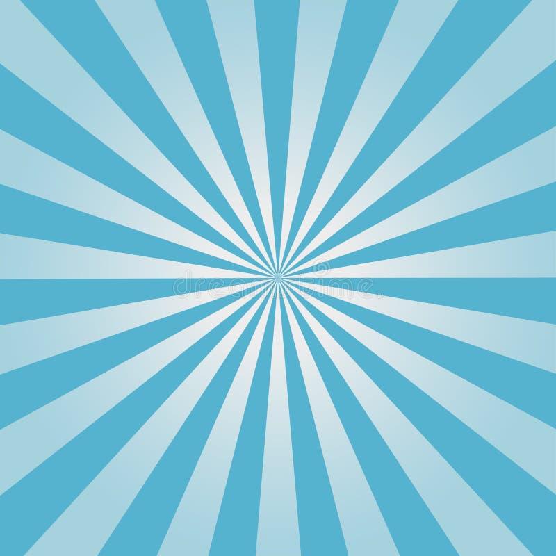 Komischer Hintergrund Blaues Sonnendurchbruchmuster Sun strahlt abstrakten Hintergrund aus Vektor stock abbildung