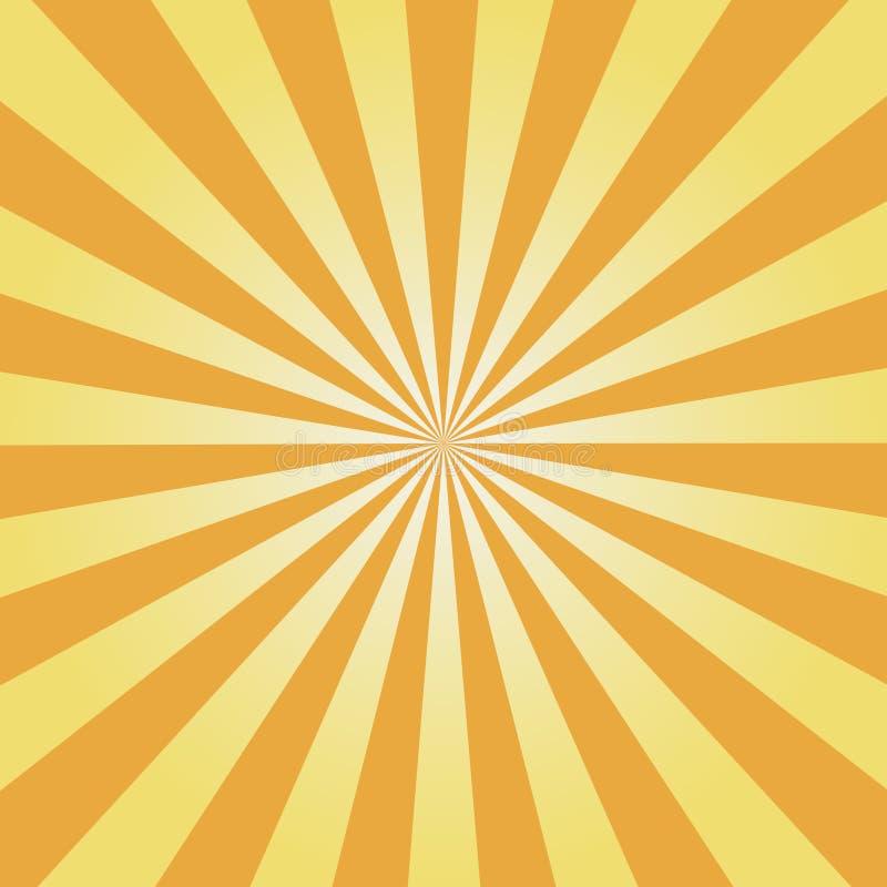 Komischer Hintergrund Gelbes Sonnendurchbruchmuster Sun strahlt abstrakten Hintergrund aus Vektor stock abbildung