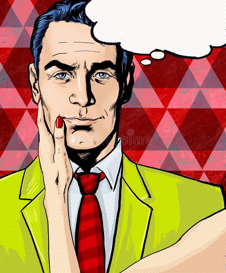 Komischer Mann mit der Frauenhand mit Spracheblase Pop-Arten-Mann Mann mit Sprache-Luftblase stock abbildung