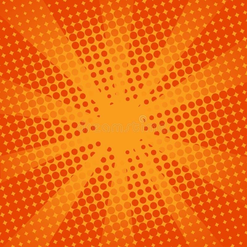 Komischer orange Hintergrund der Retro- Strahlen stockbild