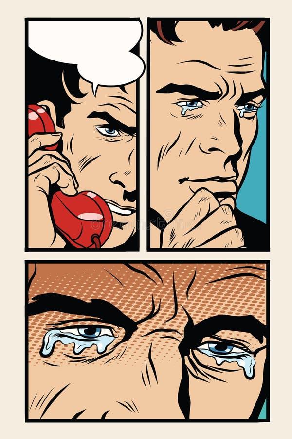 Komischer Storyboardmann auf dem Telefon und den Schreien vektor abbildung