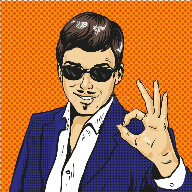 Komischer Vektor der Retro- Geschäftsmann O.K.-Gesten-Pop-Art lizenzfreie abbildung