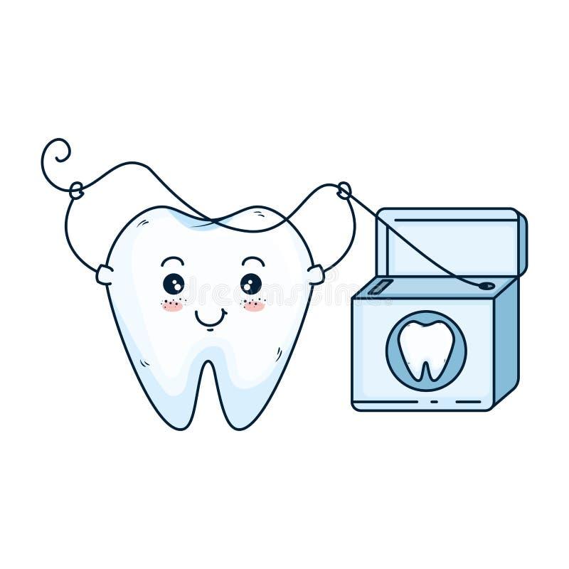 Komischer Zahn mit Glasschlacke kawaii Charakter stock abbildung