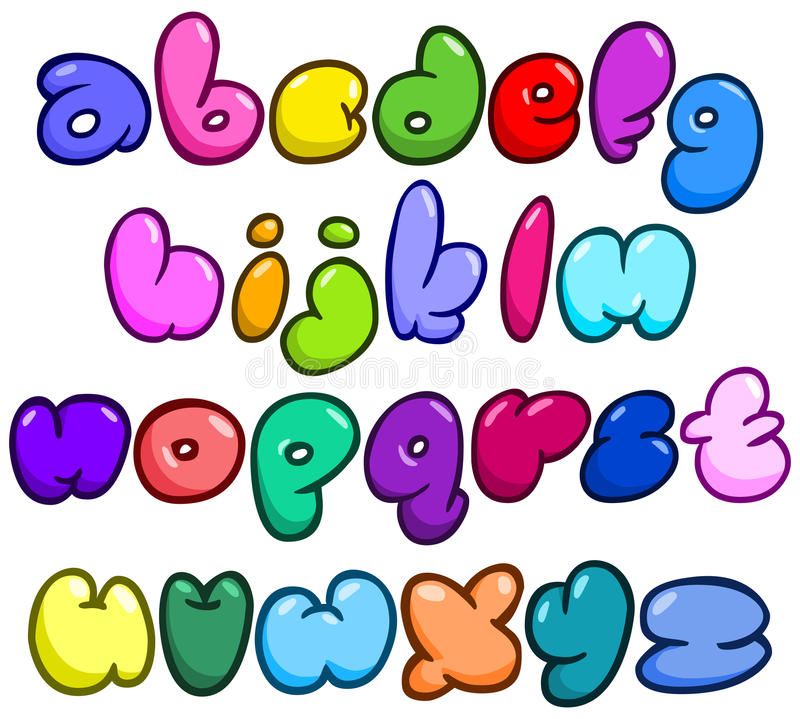 Komisches Blasenkleinschreibungsalphabet stock abbildung