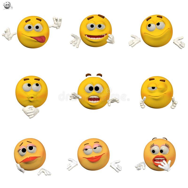 Komisches Emoticonset lizenzfreie abbildung