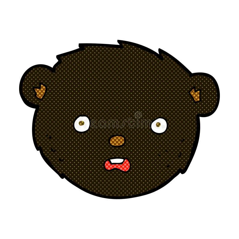 komisches Gesicht des schwarzen Bären der Karikatur stock abbildung