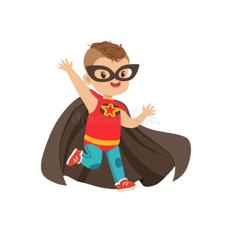 Komisches tapferes Kind mit modischem Haarschnitt im bunten Superheldkostüm Spiel der Kind s Vektorkarikaturflacher Superjunge lizenzfreie abbildung