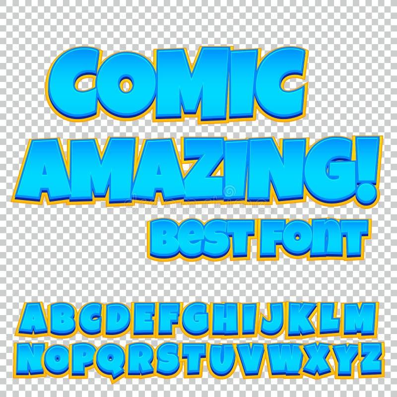 Komisk alfabetuppsättning Bokstäver, nummer och diagram för baner för komiker för websites för unge`-illustrationer stock illustrationer