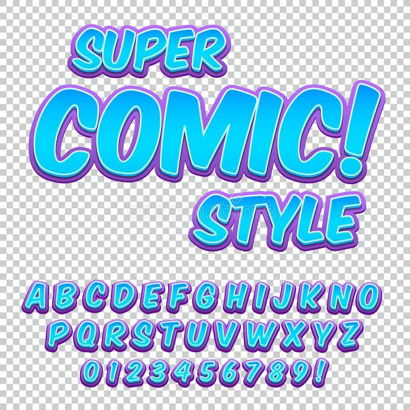 Komisk alfabetuppsättning Bokstäver, nummer och diagram för unge`-illustrationer, websites, komiker, baner stock illustrationer